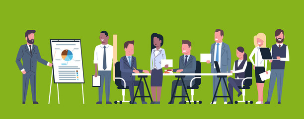Business Presentation Concept Team Brainstorming Group Of Businesspeople Professionals Meeting Discussing Report Or Market Data Flat Vector Illustration