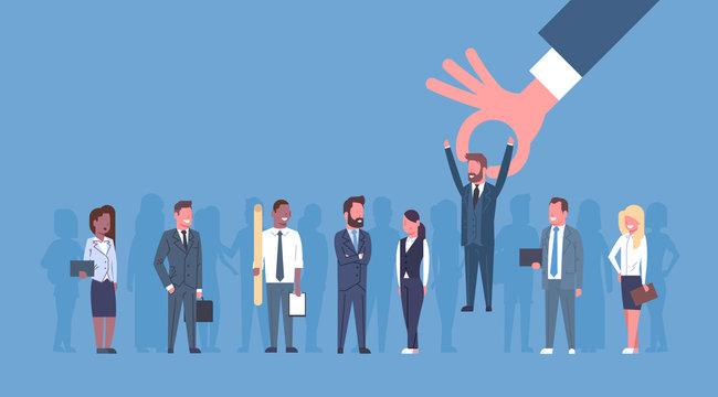 Hr Hand Pick Businessman Of Group Of Business People Candidate Recruitment Concept Flat Vector Illustration