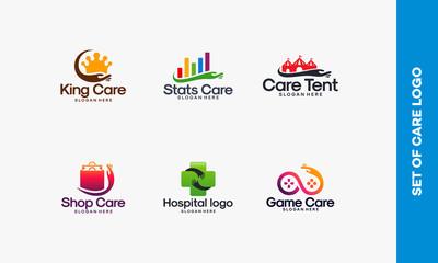 Collection of Care logo designs vector,  Set of  Health logo designs template