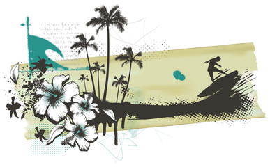 summer grunge banner with surfer palms and hibiscus