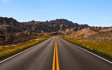 roadway through badlands national park