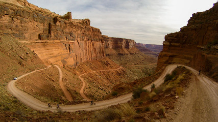road up the cliffside in canyonlands national park, utah.