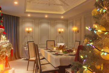 3d illustration of a Christmas family dinner table with fireplace. An image for a postcard or a poster. Interior design in a classic architectural style with a Christmas tree and gifts.