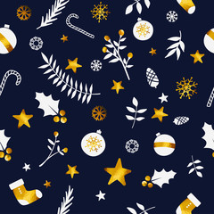 Christmas Ornament Seamless Pattern Gold Dark Blue Navy Background