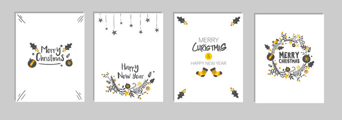 Christmas and New Year's Template Card Set Bundle, White Background Vector
