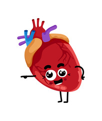 Human heart cute cartoon character