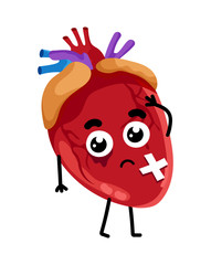 Human sick heart cartoon character