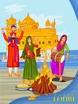 Harvest festival of Punjab, India Happy Lohri holiday background