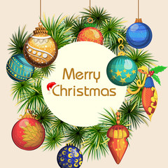 Decorated ball for Merry Christmas and Happy New Year Holiday celebration background