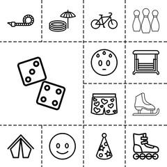 Fun icons. set of 13 editable outline fun icons