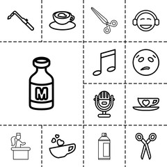 Clipart icons. set of 13 editable outline clipart icons