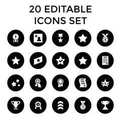Best icons. set of 20 editable filled best icons