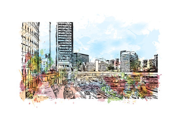 Tokyo City, Japan. Watercolor splash with hand drawn sketch in vector illustration.