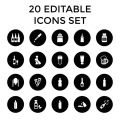 Bottle icons. set of 20 editable filled bottle icons