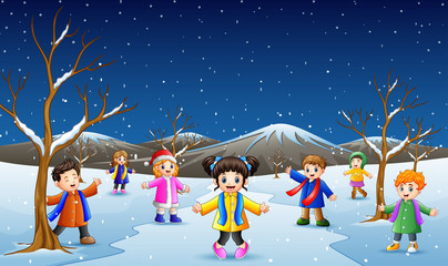 Cartoon kids playing in the snow