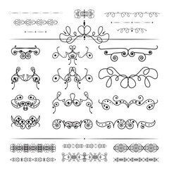 Floral and lace design elements set, ornamental vintage frames with circles in black color. Page decoration. Isolated on white background