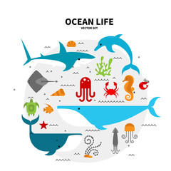 Collection of sea animals arranged in a circle. Flat style illustration isolated on background. Oceanarium collection for children books and posters.