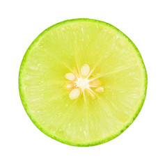 A slices of fresh lime with seeds isolated on white background, Top view.