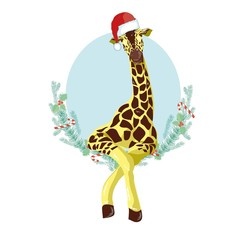 Giraffe head with Santa Claus hat vector graphic illustration.