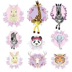 African animals set, vector, illustration, white background, isolated, reindeer, giraffe, Panda, Zebra, tiger