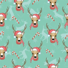 Christmas deer vector seamless pattern illustration. Reindeer vector head with horn and Santa hat