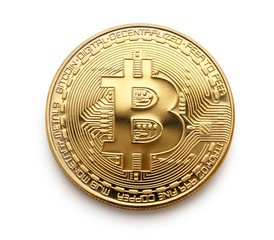 Bitcoin coin in closeup