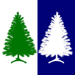 Silhouette of green and white, Christmas tree, on a blue and white background,