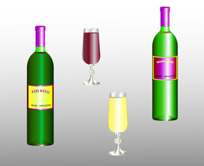 Two bottles and two wine glasses with red and white wine. Labels are modified or replaced. Vector illustration.