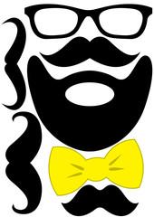 Party accessories set - glasses, mustache, bow