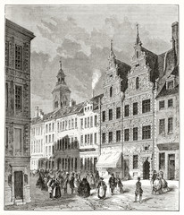 Ancient foreshortening of a elegant street with prestigious european buildings. Market Street in Amak island (Amager) Copenaghen Denmark. By Therond and Manini published on Le Tour du Monde Paris 1862