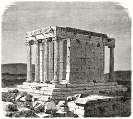 Ancient greek temple ruins on a mediterranean land. Old view of the Athena Nike temple. Created by Therond after photo by unknown author published on Le Tour du Monde Paris 1862