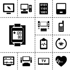 Monitor icons. set of 13 editable filled monitor icons