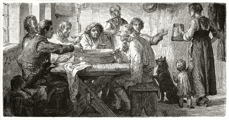 Ancient poor farmers seated on a wooden table eating all from a sole plate in a room. Old illustration of Danish peasants having a meal. Created by Frohlich published on Le Tour du Monde Paris 1862