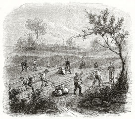 Old illustration of miners in California washing mineral in special small channels. Created by Chassevent after previous engraving by unknown author, published on Le Tour du Monde, Paris, 1862