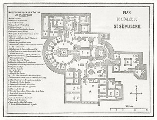 Ancient planimetry of the Church of the Holy Sepulchre Jerusalem with the legend on side. By unidentified author published on Le Tour du Monde Paris 1862