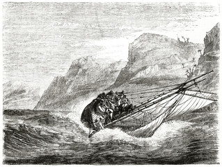 Ancient sailboat tilts with his crew on a very rough sea. La Belle shipwreck in the Gulf of Mexico. Created by Stock after Vigneaux published on Le Tour du Monde Paris 1862