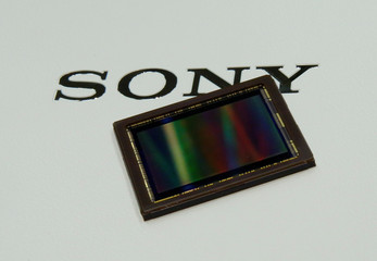 Sony's image sensor is pictured at the company's headquarters in Tokyo