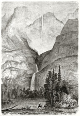Large high view of Yosemite falls, California, passing trough the mountains and falling in a little lake. Created by Huet after previous engraving by unknown author on Le Tour du Monde Paris 1862 - 185334768
