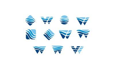 water, W emblem symbol icon vector logo