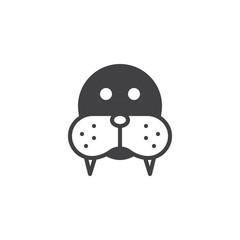 Walrus head icon vector, filled flat sign, solid pictogram isolated on white. Morse face symbol, logo illustration.