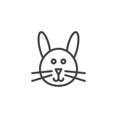 Bunny head line icon, outline vector sign, linear style pictogram isolated on white. Symbol, logo illustration. Editable stroke