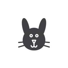 Bunny head icon vector, filled flat sign, solid pictogram isolated on white. Symbol, logo illustration.