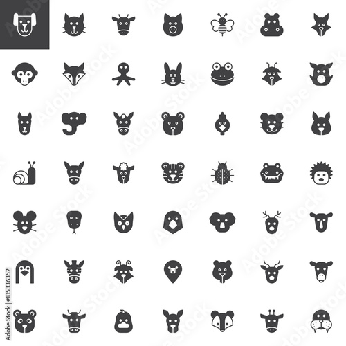 Animal head vector icons set, modern solid symbol collection
