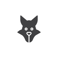 Wolf head icon vector, filled flat sign, solid pictogram isolated on white. Predator animal symbol, logo illustration.