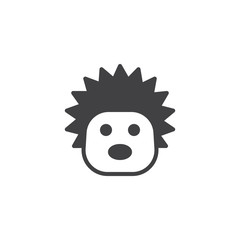 Hedgehog head icon vector, filled flat sign, solid pictogram isolated on white. Urchin face symbol, logo illustration.