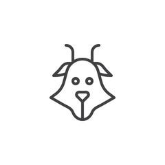 Goat head line icon, outline vector sign, linear style pictogram isolated on white. Capricorn symbol, logo illustration. Editable stroke