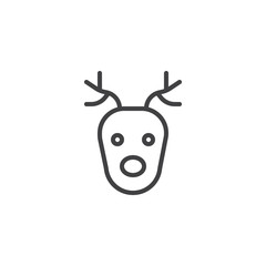 Reindeer head line icon, outline vector sign, linear style pictogram isolated on white. Symbol, logo illustration. Editable stroke