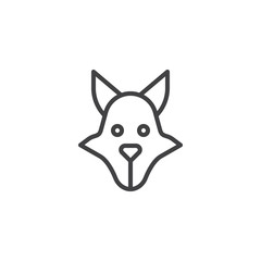 Wolf head line icon, outline vector sign, linear style pictogram isolated on white. Predator animal symbol, logo illustration. Editable stroke