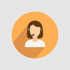 Image of a girl, with headphones on her head, in circle. Vector illustration.