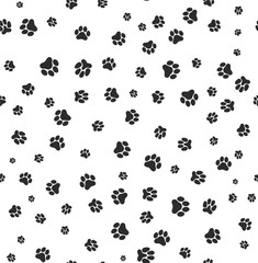 Dog paw print seamless. Template for your design. Vector illustration. Isolated on white background